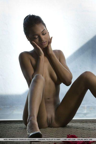Black glamour model Noel Monique freeing girl parts from red lingerie - part 2