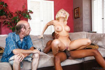 Hot blonde wife Kagney Linn Karter taking BBC in front of cuck - part 2