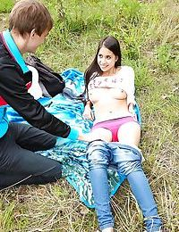 Young and busty European teen Paula O taking cumshot on ass outdoors