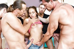 Wild gangbang sex in crazy scenes with latina porn star Sara Luvv