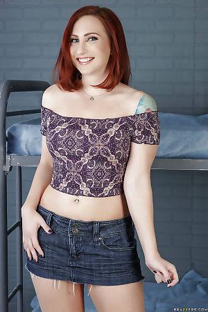 Redhead mom Sophia Locke spreading her perfectly shaved vagina