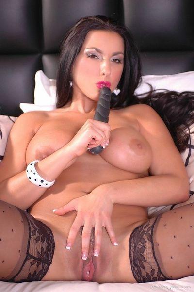 Latina pornstar Brianna Jordan masturbating pink pussy wearing sexy stockings - part 2