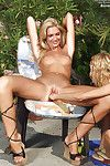 Ravishing blonde babe with petite tits gets her pussy fisted outdoor