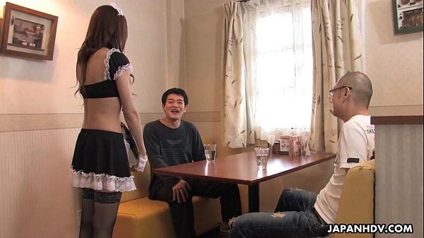 Asian waitress gives out a sizzling blowjob