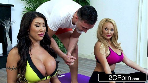 Bored Huge Tit Housewives August Taylor & Summer Brielle Share a Yoga Instructor HD
