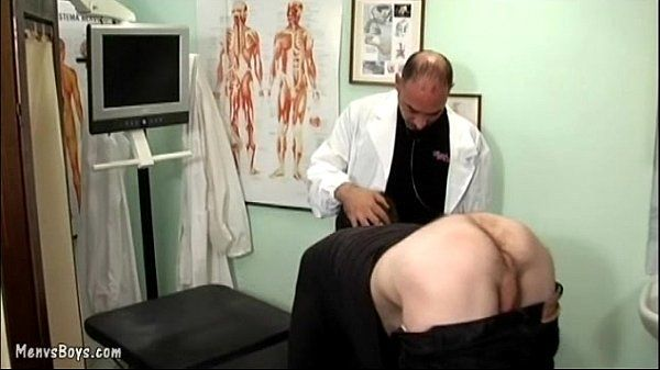 Old gay doctor probes his patient's ass with dick