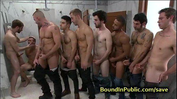 Bound gay face cummed in public restroom