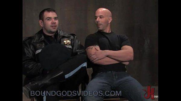 Baldheaded gay fucked by cop in bondage