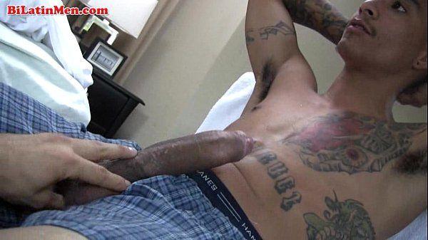 Tatted Latin thug jerking of