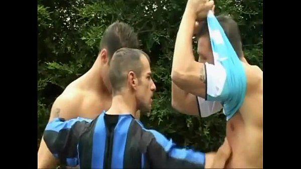 Three sexy footballers enjoy hot anal fucking gay threesome