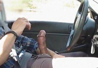 Big Cock Exhibitionist Shooting Big Load In Car