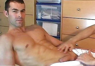 Nicolas, a real str8 soccer player get wanked his huge cock by a guy !