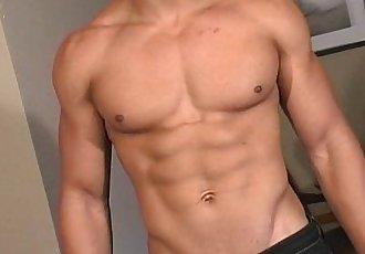 Hot bi latin men shows off his hot masculine rock body and his uncut cock