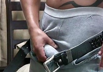 Straight latin papi with a nice thick uncut cock, jerks off and shoots a warm
