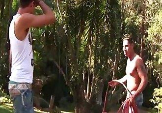 Hot muscled gay latino hunks hardcore outdoor anal pounding fun