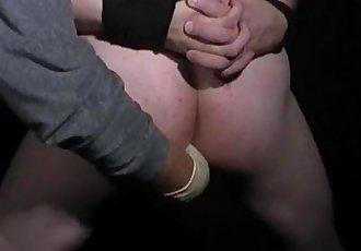 Hot hunk blindfolded bondage handjob