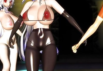 3D MMD Haku X5 Big Tits Squadron Pai Rangers