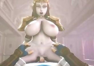 Princess Zelda titfucks and riding cock POV