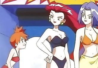 Pokemon - James inflatable breasts + Misty in bikini