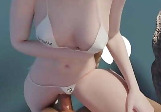 Cute 2B in white Bikini, Nier: Automata, with sound