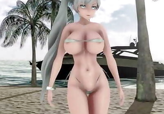 MMD SEX RWBY Weiss Schnee Dances In Micro Bikini - Bboom Bboom