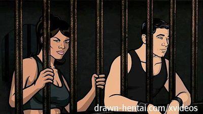 Archer Hentai - Jail sex with Lana - 7 min HD