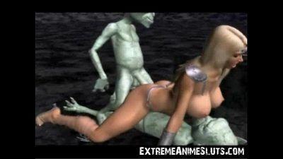 Aliens Bang a 3D Princess! - 3 min