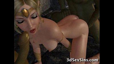 Ogres Gangbang 3D Princesses! - 3 min