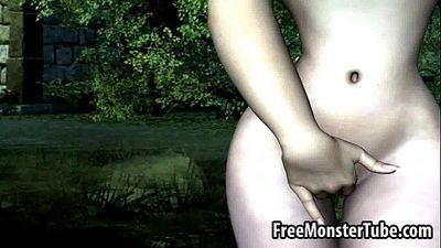 Busty 3D cartoon brunette hottie masturbates outdoorsHFARMGIRL-high 1 - 3 min