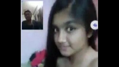 Desi cute teen college girl boobs show and fondling for lover leaked video with - 4 min