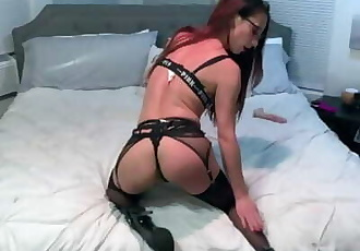 Hotwife Eva Nixon plays with Dildo in Stockings & Garter
