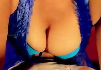 Hot desi shortfilm 236 -Mature aunty boobs squeezed in blue bra nipple peek