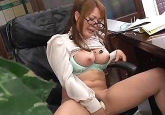 Hinata Komine having a tele-meeting where she masturbates - 55 sec