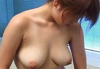 Asian brunette taking a shower and has nice boobs - 8 min