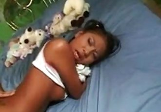 Little Jade Marcela clutches her doll and gets her ass fucked before school - 20 min