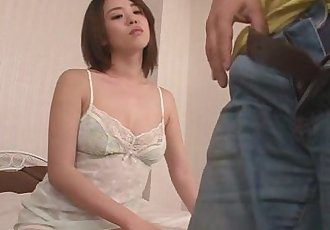 Busty Yuna Satsuki in lingerie gives an asian blowjob - 8 min