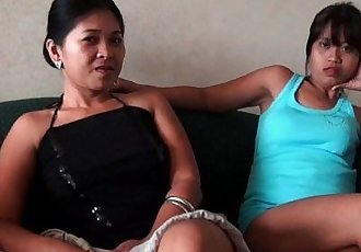 Two Filipina Bargirls Sucking One White Dick - 5 min HD