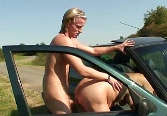 He picks up and nails a dirty old bitch outdoors - 6 min