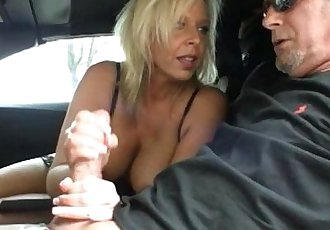 Sexy Milf Jerking In The Car