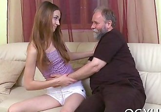 Cute young beauty fucked by old chap