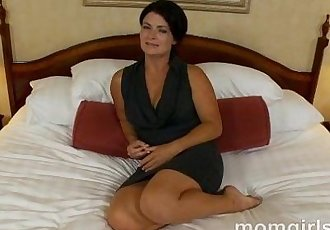 Brunette milf does her first adult video - 5 min