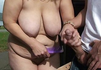 Blonde granny ride strangers cock on public - 6 min HD