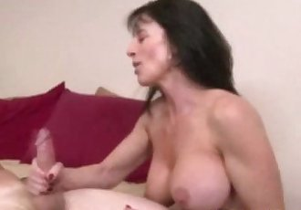 Bigtit brunette milf tugging hard dick