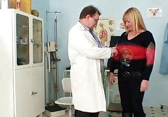 Big tits blond mature hairy pussy exam - 5 min