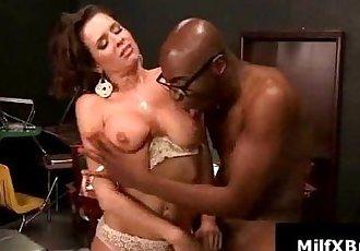 Lucky black stud ponuds shaved ass licked MILF - 4 min