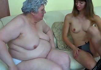 Big fat Granny with a cute girl - 8 min HD