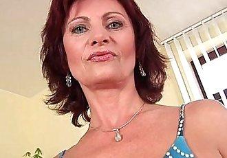 Granny Wanda with her hard nipples and hirsute pussy masturbates - 6 min HD