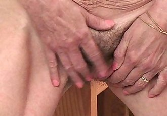 Saggy granny with hairy pussy finger fucks - 5 min HD