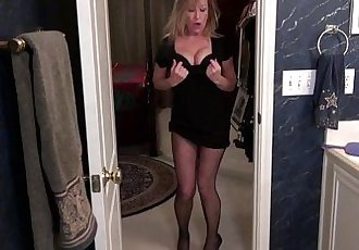 American milf Sally Steel gets naughty in fishnetsHD