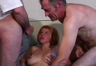 Voyeur Papy fucks nymph in threesome - 8 min
